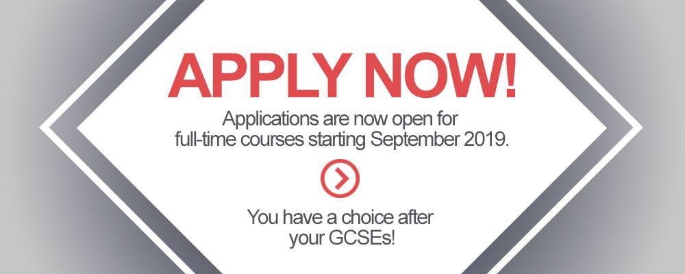 Apply now for full-time courses starting September 2019