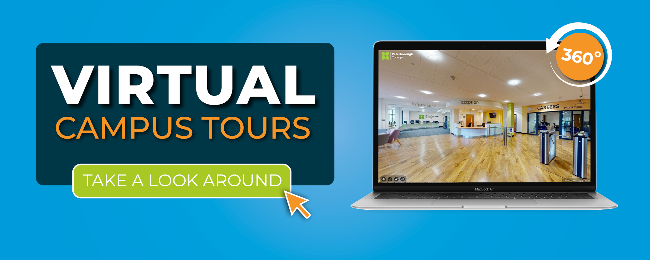 Image displays text which says virtual campus tours - take a look around.