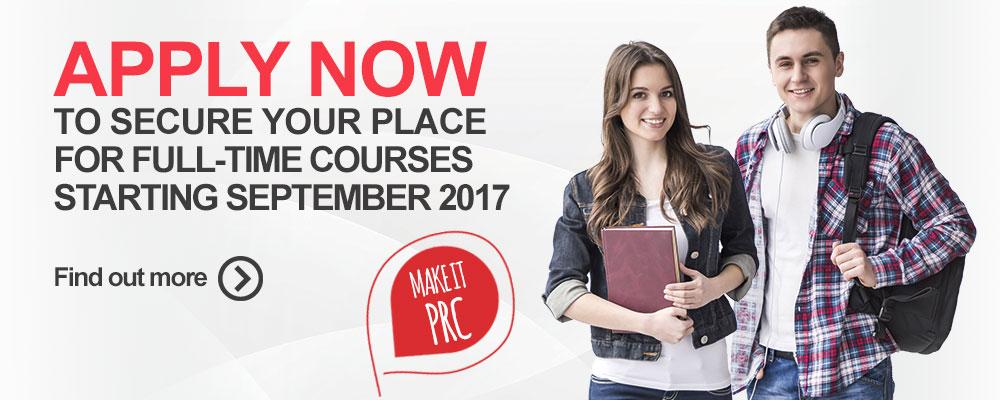 Apply Now for full-time courses starting September 2017