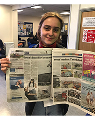 Student Annika Loebig with her article published in the Peterborough Evening Telegraph
