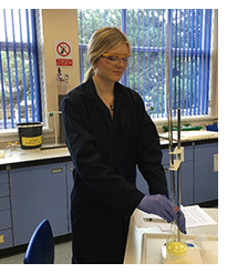 Former student Ineta in one of the college science labs