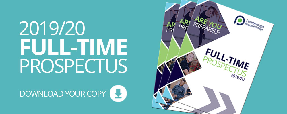 Download your copy of the full-time prospectus for courses starting September 2019